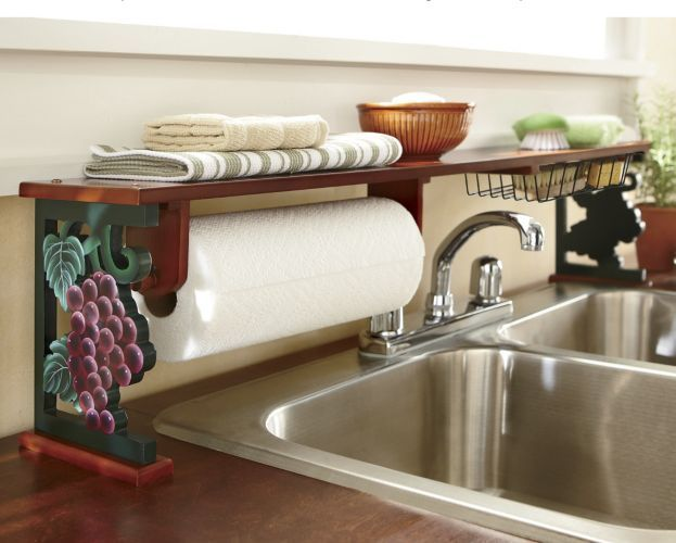 Grapes over the sink shelf from seventh avenue i have a for Wine themed kitchen ideas
