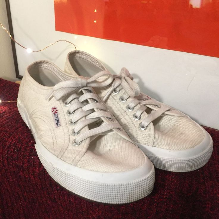 Superga Men's Canvas Sneakers Shoes Pre Worn White size 40 #Superga #Sneakers