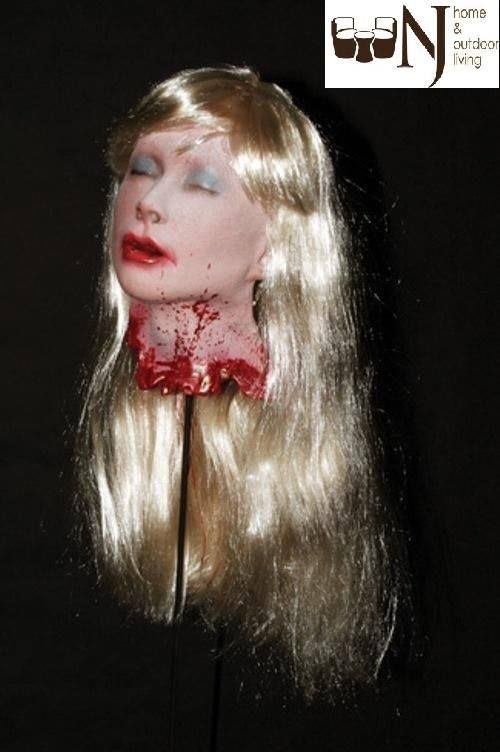 This bloody cut off head prop is terrifyingly realistic. #Prop head is a female victim with long blonde hair. Full-size, foam filled latex head, individually hand painted to look as nightmarish as possible. What a gory #Halloweendecoration! #Halloween #Halloweenoffer #Halloweensale #Halloweenprop #decoration