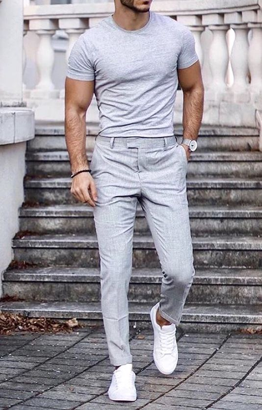 Giorgenti New York |Custom Suits|Custom Shirts|Tuxedo What a fun summer men's outfit! Great dress pants with a grey fitted T-shirt and white sneakers! Have your slim fitting pants custom made by Giorgenti New York for best fit and comfort! <a class=