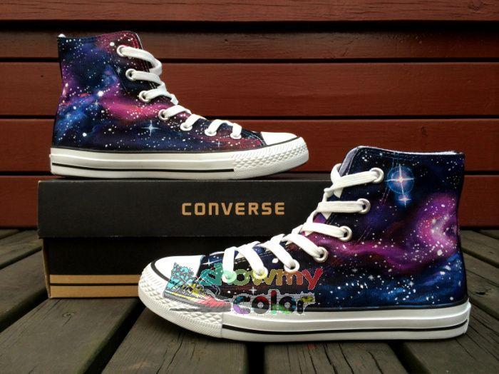 Кроссовки Converse All Star Оригинальный Ручной Росписью Обувь Galaxy Пространство Индивидуальный Дизайн Высокие Верхние Женщины Мужчины Скейтбординг Обувь Подарки
