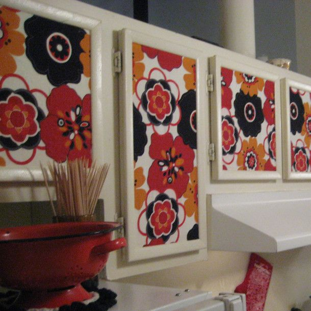 DIY kitchen cabinets - removable wallpaper cabinets - design solutions for renters - freakin awesome!