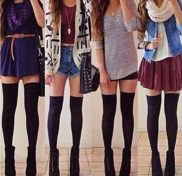 Thigh high socks outfits tumblr