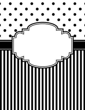 Black and White Polka Dot and Stripe Binder Cover