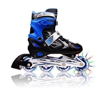 Adjustable Inline Skates for Kids, Featuring Illuminating Front Wheels, Awesome-looking, Safe and Durable Rollerblades, Latest Stylish Design, Perfect for Boys and Girls, 60-day Money Back Guarantee <<check latest price>> http://amzn.to/2fye7bX