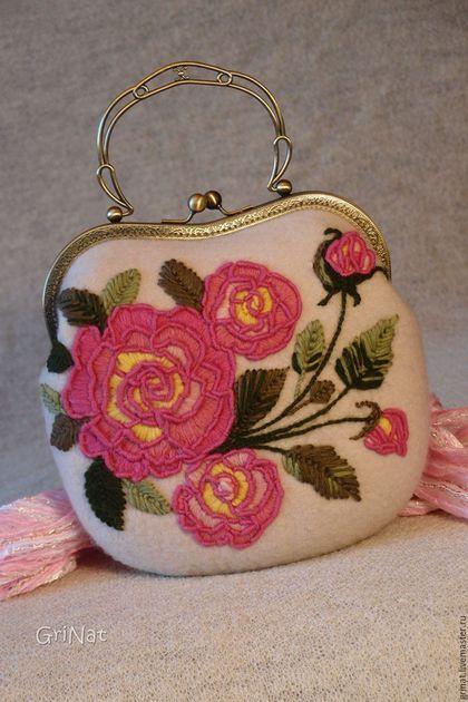 """Купить Сумочка""""На рассвете"""" - grinat, розы, вышивка, ручная авторская работа, авторская ручная работа"""