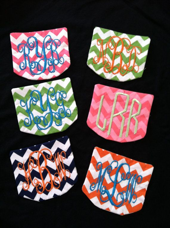 chevron pattern on shirts | DIY monogrammed chevron pocket for tshirts by gingerbreadbabies