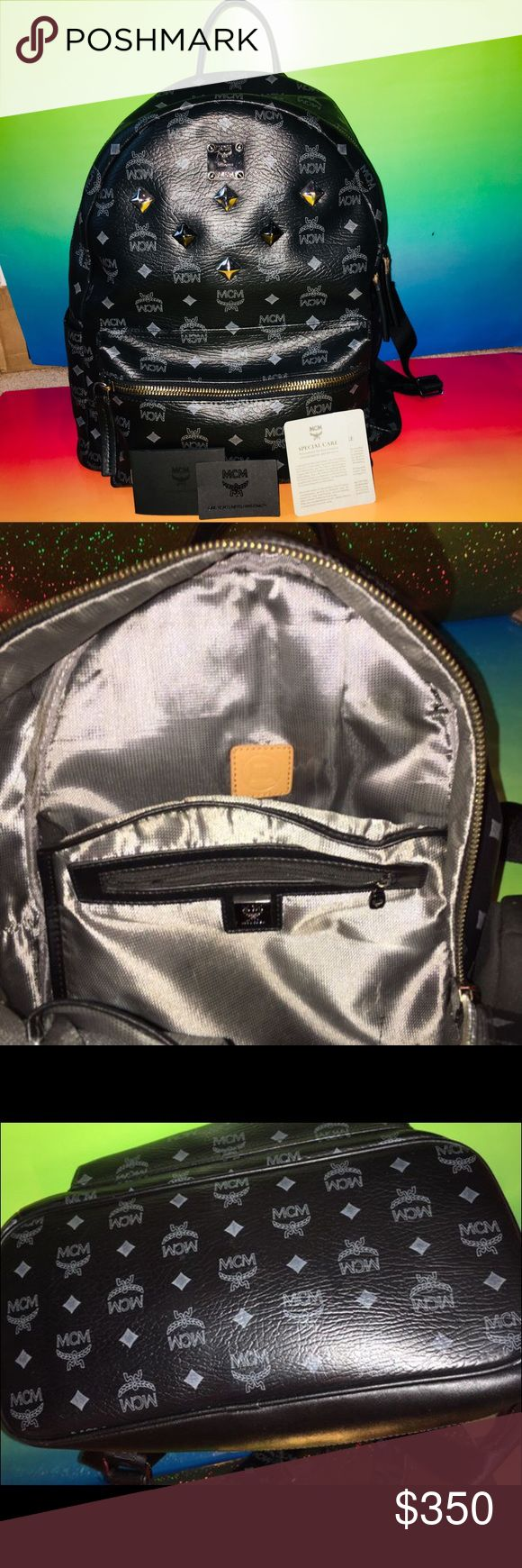 AUTHENTIC MCM BLACK STUDDED BACKPACK LARGE AUTHENTIC MCM BLACK STUDDED BACKPACK LARGE. Has room for a laptop inside 100% authentic ! IN GREAT CONDITION! I HAVE THE AUTHENTICITY CARDS THAT CAME WITH THE BACKPACK SEE 1st photo! MCM Bags Backpacks