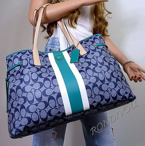 NWT COACH XL BLUE DENIM SIGNATURE GREEN LAPTOP TRAVEL DIAPER BOOK BAG TOTE PURSE