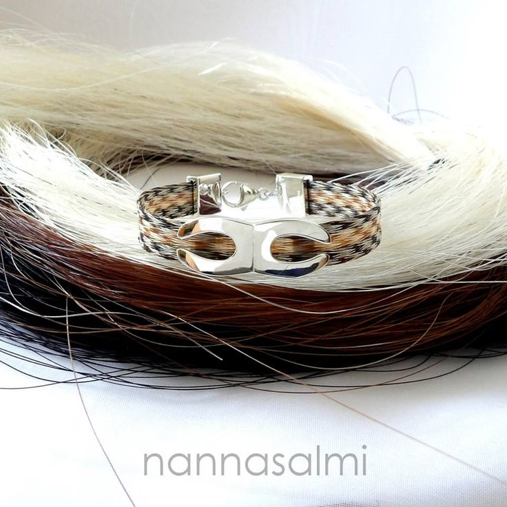 Bracelet Cedric, woven ribbon made with your own horse´s hair www.nannasalmi.com www.nannasalmi.fi