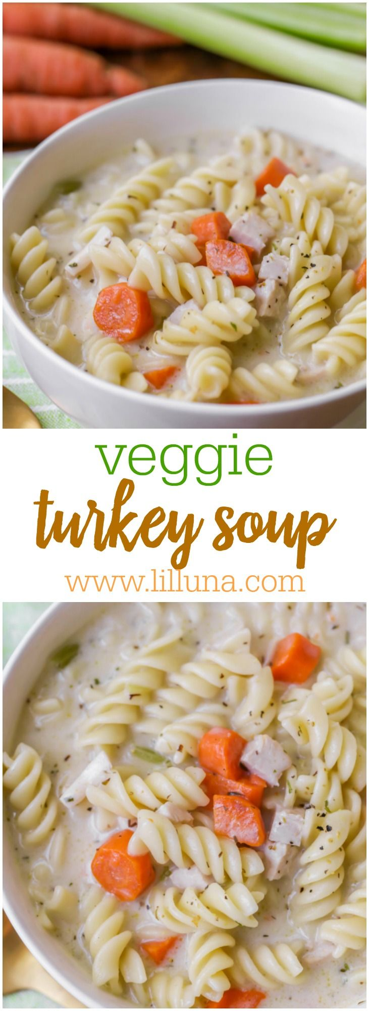 Hearty Turkey Soup - this delicious recipe is flavorful and filled with rotini pasta, celery, carrots and turkey - perfect for fall!