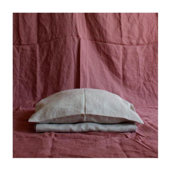 sengesett av lin | rosa
