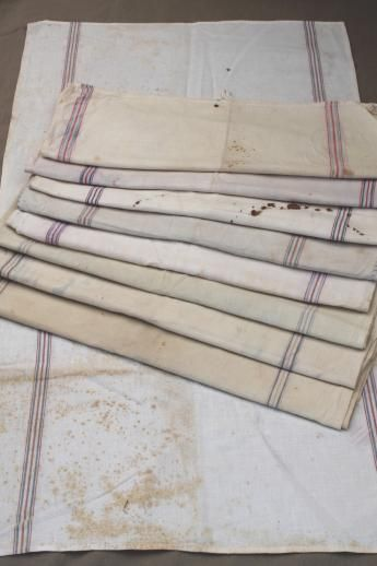 old flour sack towels, red and blue striped cotton. Unique grain sack fabric
