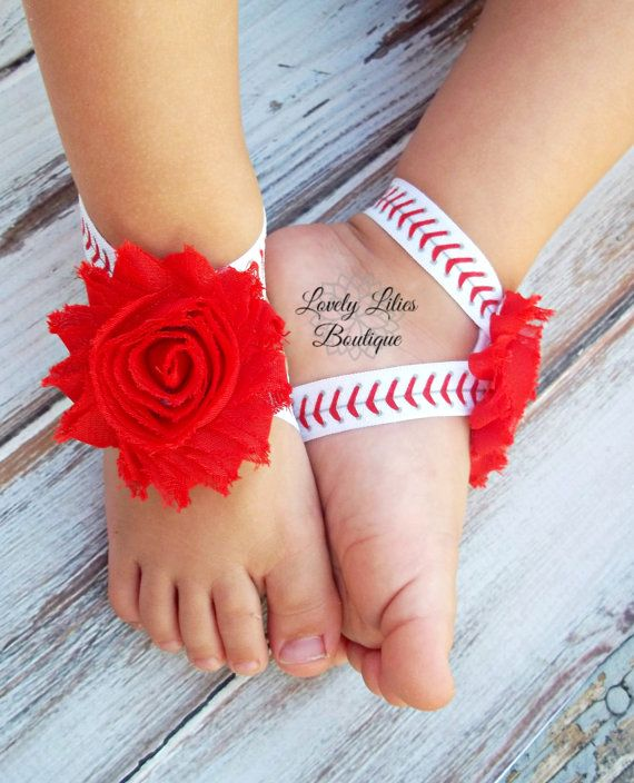 Baby Barefoot Sandals .. Baseball Sandals by LovelyLiliesBoutique, $6.50