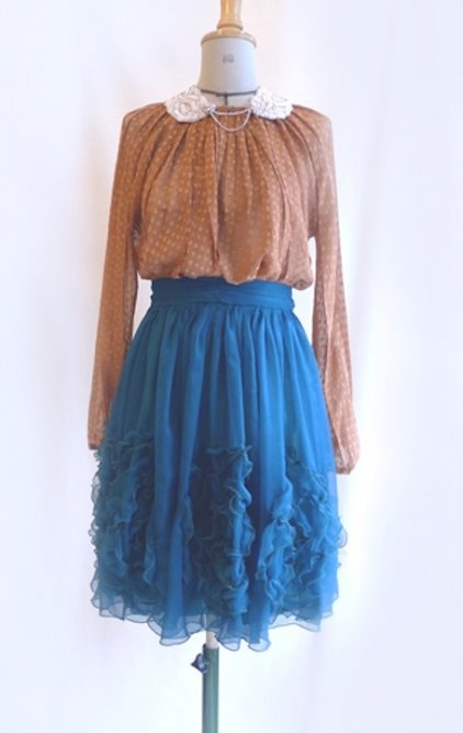 Chiffon skirt and blouse, collar  Cecilie Melli