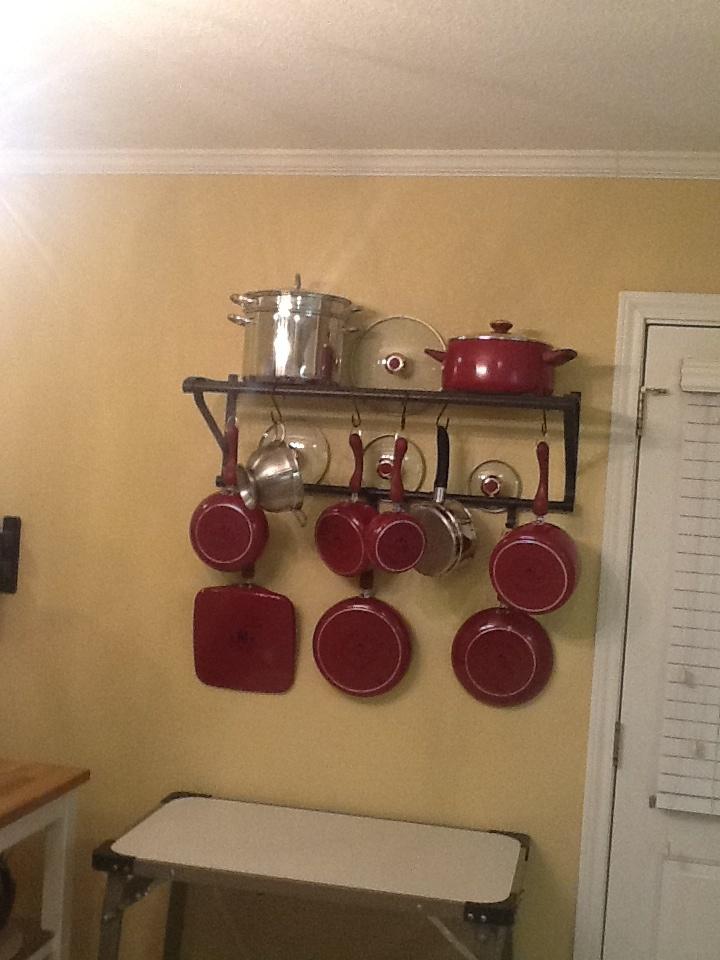 $20.00 Pot Rack from Ikea. Extra hooks from Lowe's garden ...
