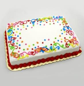 Hy-Vee - #14 Icing Streamer Party Cake Marble cake, Vanilla butter cream frosting Quarter Sheet (16-24 Servings) $17.99