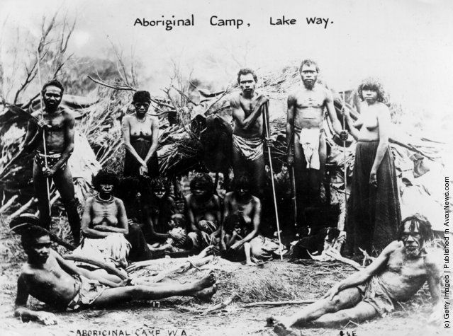 An Aboriginal camp in Lake Way, Westerrn Australia. (Photo by Hulton Archive/Getty Images). Circa 1900