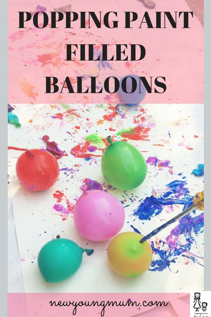 Popping Paint Filled Balloons. Kids crafts, preschool crafts, messy play, children's crafts, messy play ideas, popping balloons, paint balloons, glitter balloons
