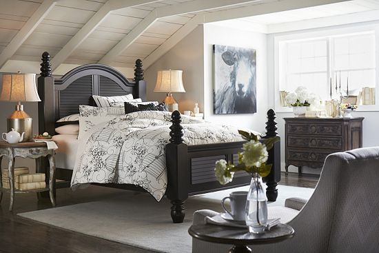 The Shuttered Look And Muted Color Of This Havertys Cottage Retreat Ii Queen Poster Bed Reminds