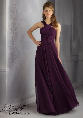 A-line Halter Chiffon Eggplant Ruched Sleeveless Zipper Up Empire Floor Length Prom Dress/Bridesmaid dress AF 20434