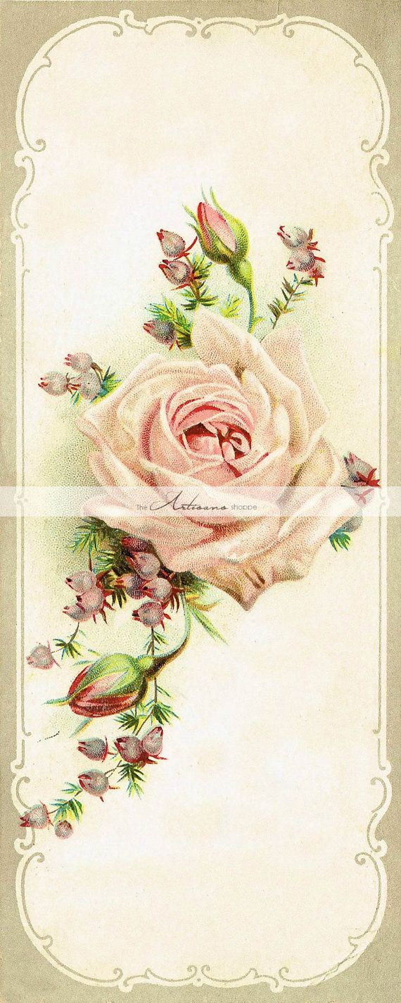 Digital Download Printable  Antique Roses Bookmark Image
