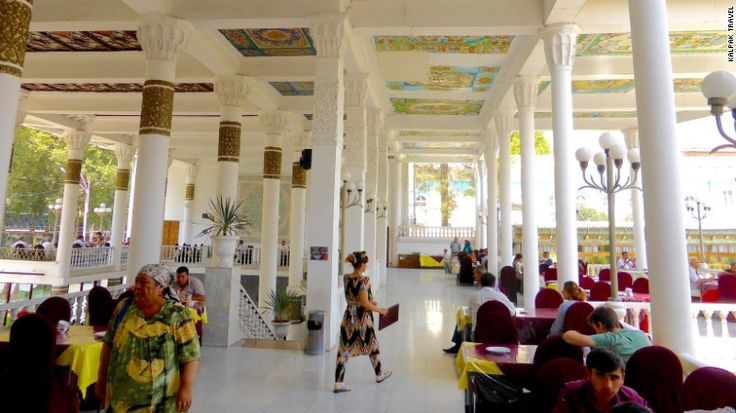 "<strong>Rokhat, Dushanbe, Tajikistan:</strong> Chaikhana, meaning ""teaplace,"" can be found all over Tajikistan. The ornate Rokhat in Dushanabe is one of the finest places to lounge and sip tea while enjoying city views."