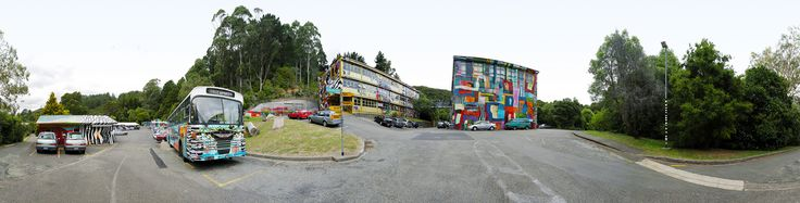 Campus Exterior Panoramic - Painted by Sue Lund