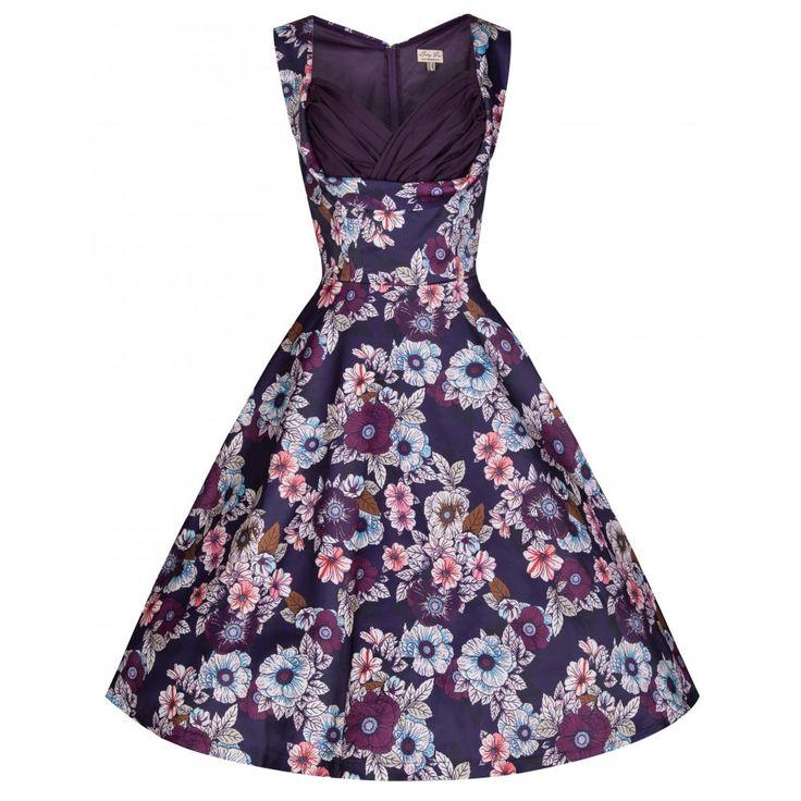 Ophelia Plum Petals Dress | Vintage Inspired Fashion - Lindy Bop