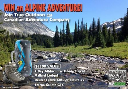 Canadian Adventure Company's Mallard Mountain Lodge, and True Outdoors, have teamed up for a 7 night hiking trip and gear contest ending July 15, 2015. See full details at http://www.trueoutdoors.ca/promotions/2015/alpine-adventure.html