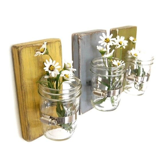 upcycled wood and jars ~ beautiful wall vase