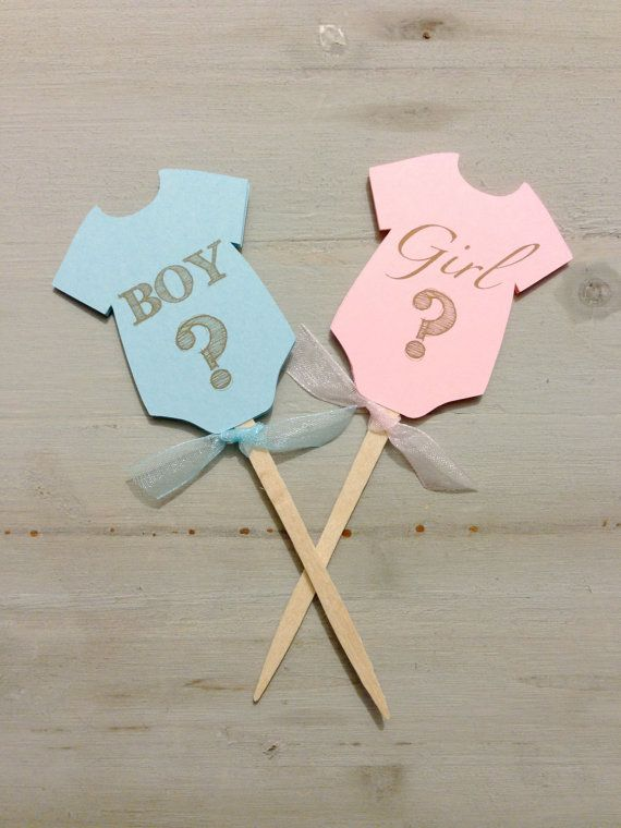 Gender reveal onesie baby shower Cupcake Toppers by papermeblossom, $10.00: Baby Shower Cupcakes, Boys Or Girls, Girls Generation, Reveal Parties, Baby Reveal Cupcakes, Reveal Baby Shower, Gender Reveal Baby, Photos Props, Gender Reveal Cupcakes