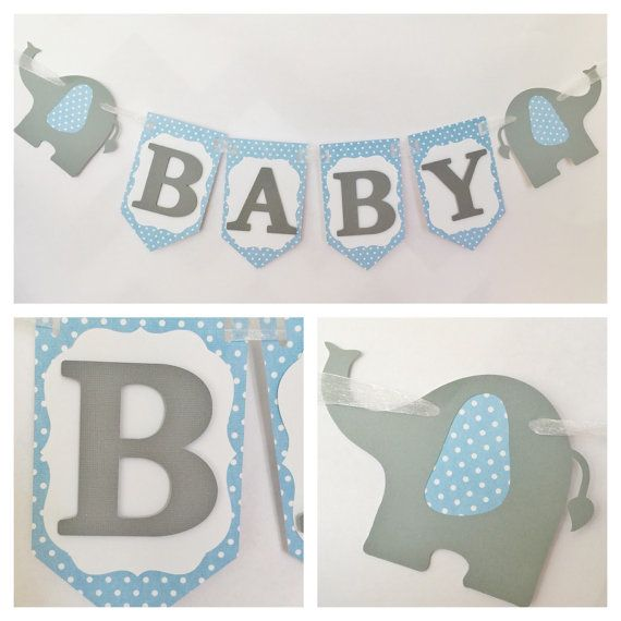 Elephant Baby Banner in Blue and Grey, Blue and Gray Baby Shower Banner, Elephant Banner for Boys