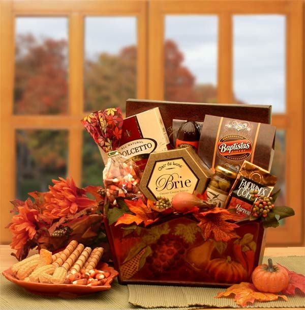 A solid wood hand painted tray adorned with fall leaves arrives filled to overflowing with delicious gourmet foods. Makes the perfect gift for the Thanksgiving Day host or hostess, or for family.