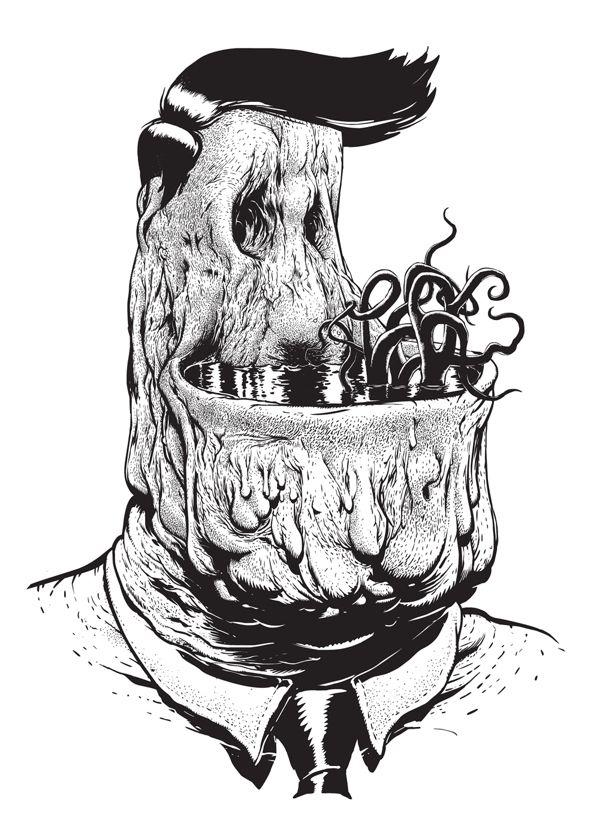 set of creepy drawings by warsaw poland based artist tomek pa onka