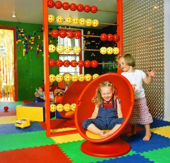 Tips in Buying the Café Kid Furniture: Kids Indoor Playground Interior Design In Boobah Cafe With Cute Rug
