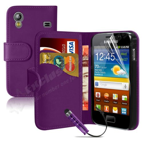 Leather Wallet Flip Case Cover for Samsung Galaxy Ace S5830 Free Screen Protect | I really like this idea... except if you loose your phone