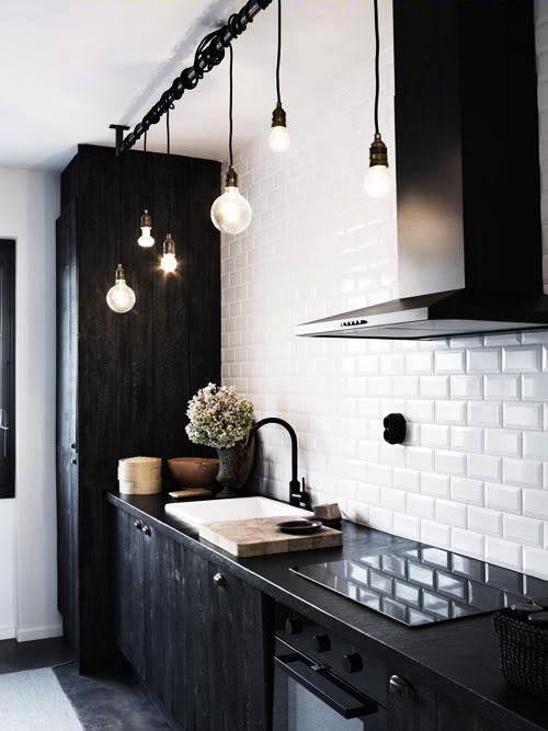 black kitchen...pretty Lights