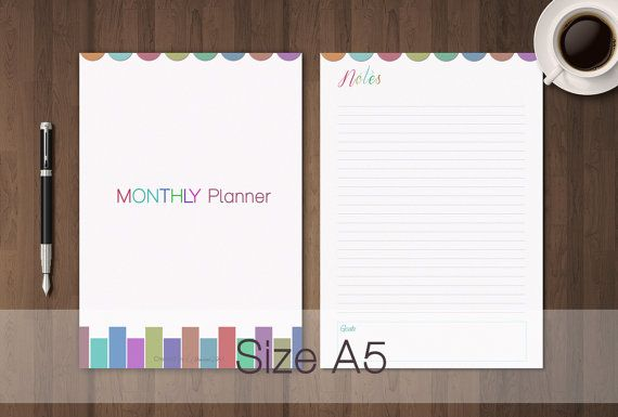 Calendario Mensile Perpetuo per Filofax A5 di GraphicWithLove