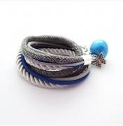 Podwójna bransoletka szaro-niebieska