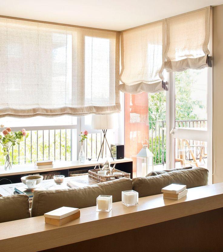 Las 25 mejores ideas sobre cortinas estores en pinterest for Telas para cortinas salon