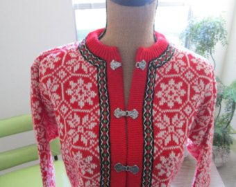 Norwegian Wool Cardigan by Nordstrikk,  Medium, Ski, Norway, Vintage, Cardigan, Snowflake