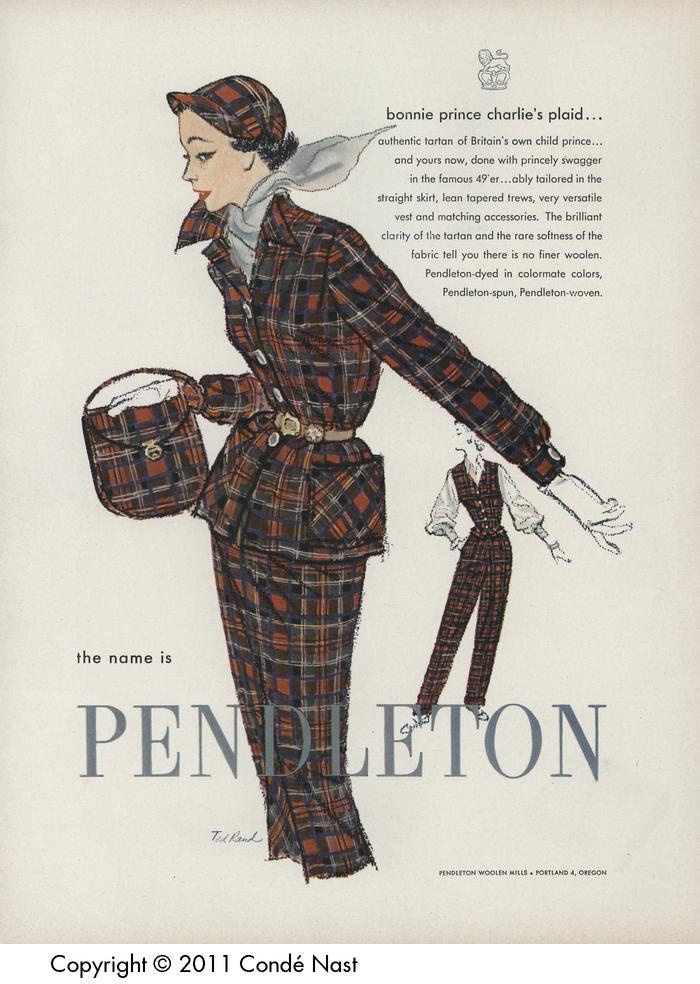 Vogue Oct 1, 1952 Pendleton 49er and matching accessories--must copy the hat!