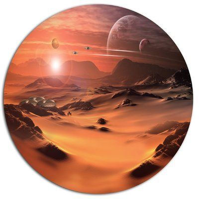 "DesignArt Alien Planet 3D Rendered Computer Art Graphic Art Print on Metal Size: 11"" H x 11"" W x 1"" D"