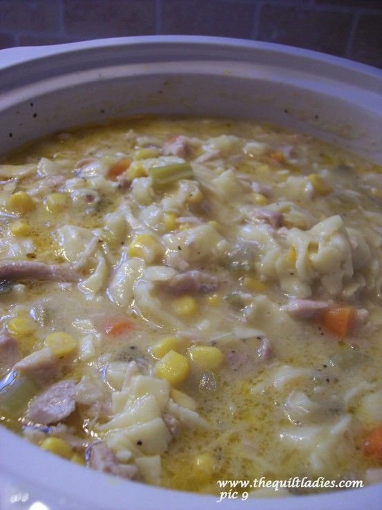 Fall - Crock Pot Chicken and Noodle Soup: 5 cups of chicken broth (boxed or can is fine). One 10.75 oz can cream of chicken soup. 1/2 cup onions, chopped fine. 1/2 cup celery, chopped fine. 1/2 cup carrots, chopped fine. 1/2 cup green onions, sliced. One 15 oz can of whole kernel corn, drained. 1 1/2 cup Egg noodles. 2 cups cooked chicken chopped.