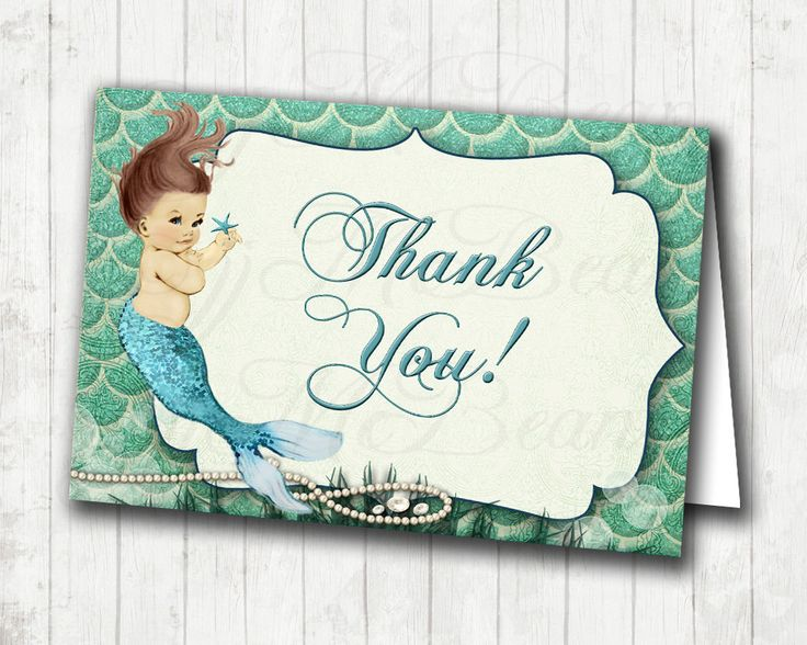 Mermaid Thank You Card For Girl Diy Printable By