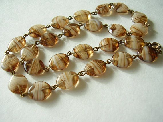 Murano Necklace Brown Banded Agate Scottish Pebble Wire Linked