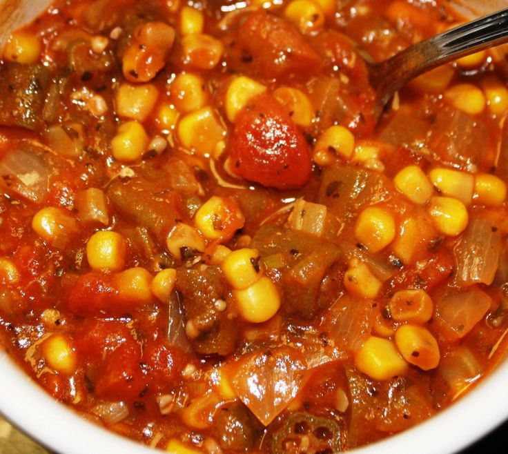 Like onions and garlic, and peas and corn, okra and tomatoes are probably the two vegetables that are the most made to go together. Throw in some sweet corn, maybe a little pork or shrimp and you've got yourself a whole meal. Always found on Cajun and southern tables, cooked down smothered okra and tomatoes loaded with seasonings and anything else you feel like adding is a belly warming taste of good stuff. Fresh is best but frozen will work just as good.