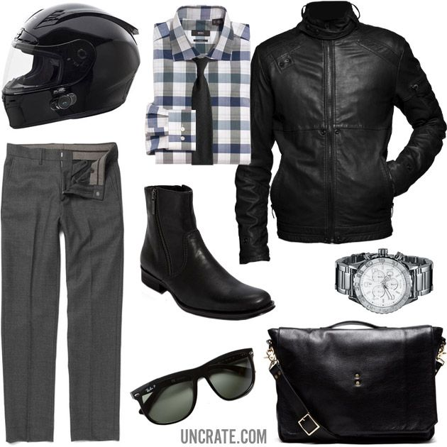 GARB: TWO WHEELS TO WORK: O'Neal Racing Fastrack II Bluetooth Helmet ($250). Boss Black Slim Fit Dress Shirt ($195). G-Star Raw MFD Leather Jacket ($560). Jack Spade Cashmere Silk Tie ($125). Kenneth Cole New York Deja View Boot ($130). J.Crew Urban Stanton Trousers ($120). Ernest Alexander Slim Messenger ($565). Nixon 42-20 Chrono Watch ($425). Ray-Ban P-Flatop Sunglasses ($179). Total = $2549