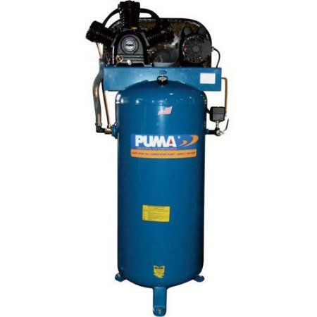 Puma Industries Air Compressor, PK-7060V, Professional/Commercial Single Stage Belt Drive Series, 6.5 HP Running, 135 Max PSI, 230/1 Voltage/Phase, 60 Gallons, 360 lbs.
